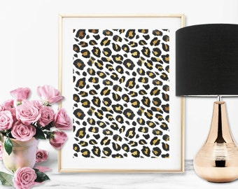 Leopord Print Faux Foil Art Print - Instant Digital Download