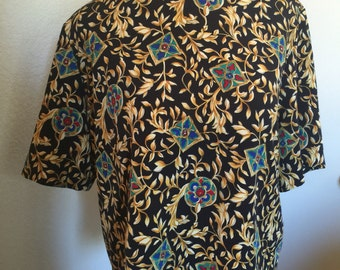 Vintage 80s Stained Glass Filigree Short Sleeve Blouse