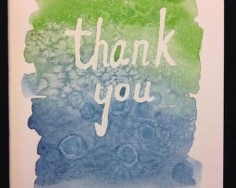 Thank You Watercolour Print Card - BLANK INSIDE