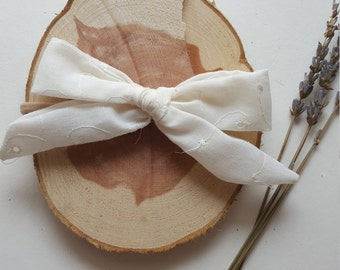 Soft White Flowered Hand-Tied Headband