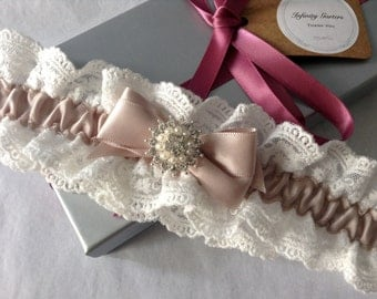 Ivory double scalloped edge lace garter with taupe satin ribbon and faux pearl button