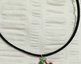 Double Cherry Choker faux black suede with lobster claw clasp and extender  chain