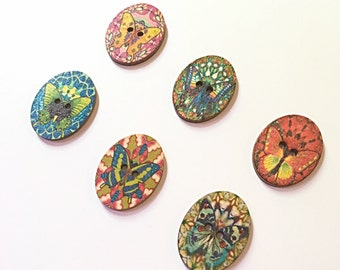 Wood butterfly buttons