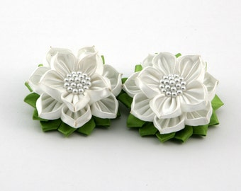 Kanzashi ribbon/fabric flower ponytail holders SET OF 2
