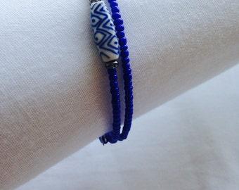Cobalt Double Coil Bracelet with Accent Bead
