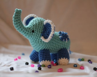 Little Blue Elephant Plushie #1 - Crochet Amigurumi