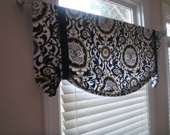 Suzani  Black, Grey, Yellow-Gold, White  Tie-up Valance Treatment Living Room Bedroom Kitchen Office Laundry
