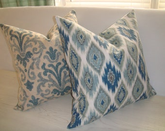Navy Blue Grey White Diamond Ikat Decorative Designer Pillow Cover