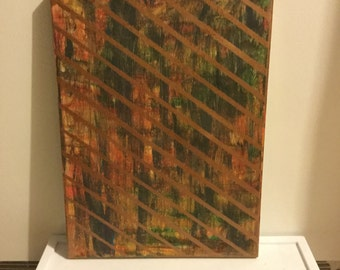 Abstract painting in earth tones and bronze 12x16