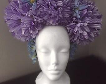 Purple & Blue Fairy Flower Crown Headpiece