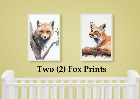 Fox Set of 2 Wall Art Print from original watercolour paintings by Corinne Dany / Animal Print /  Kids Room / Cute Fox / Gift / Wall Art