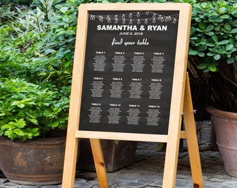 Wedding Seating Chart, Chalkboard, Vintage String Lights, Seating Chart, DIY Seating Chart, Editable PDF Template, Instant Download E14A