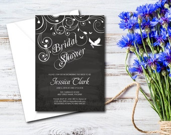 Bridal Shower, Party Invitation, Chalkboard Ornamental Floral Design, Party Invite, DIY, EDITABLE PDF, Printable Instant Download  E19A