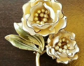 Vintage Enamel Double Rose Pin with Rhinestones