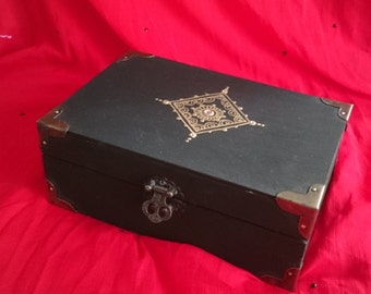 Jewelry Box, Black with gold design and Rhinestones