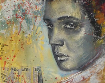 Original Elvis Presley painting,famous people painting,12x12 Small Painting,portrait,Elvis Presley,square,small modern portrait,12x12