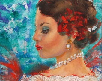 Original,portrait,oil,small painting,woman,red flower,lace,12x12,pearls