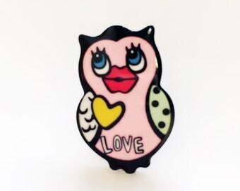 Cute Owl Acrylic Pin