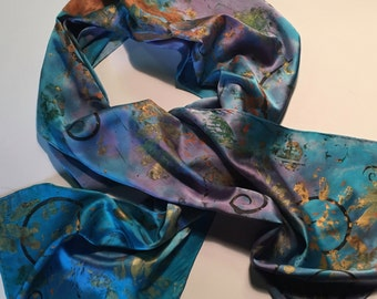 Hand Painted Silk Scarf/Royal Blue and Teals with Copper and Gold/Abstract
