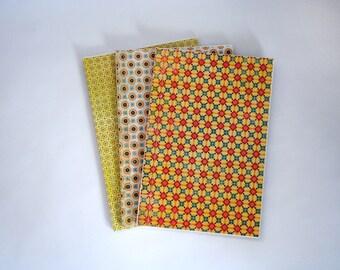 Trio of Stab Bound Mosaic-pattern Sketchbooks, Notebooks, Journals