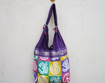 Om Purple Color Sling bag or Single strap bag in Blue Cotton Indian Fabric with Printed bag US-1130