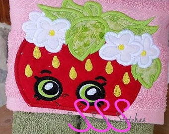 Embroidery Applique Strawberry Hooded Towel Topper Machine Design, Applique Strawberry Kiss Bib Topper Berry Girl Shopkins Inspired
