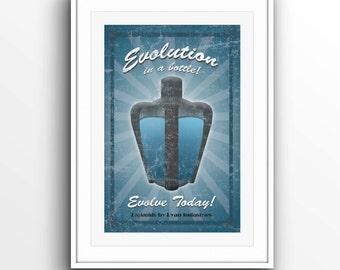 Bioshock Evolve with Eve Plasmids by Ryan Industries Original Minimalist Print Poster