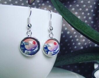 Japanese Painting Drop Earrings