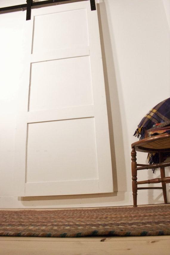 Modern White 3 Panel Sliding Barn Door Handmade by
