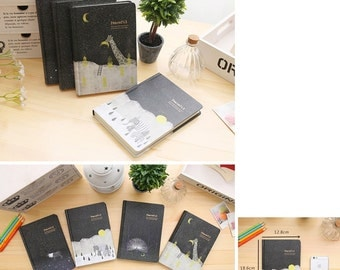 40% off notebook handbound journal Peaceful illustrated paper notes