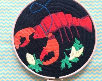 Mr Pinch - Lobster Embroidery Hoop Art