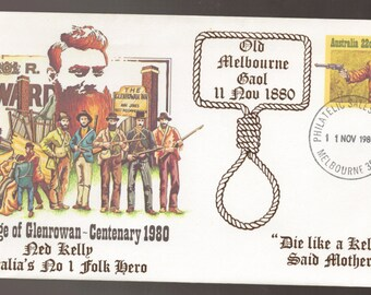 1980 Australia Centenary Siege of Glenrowan NED KELLY Bushranger with Hangman Noose Cancel FDC First Day Cover