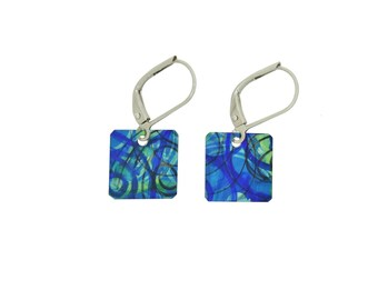 Unique aqua blue / multi coloured small square reversible earrings, steel reversible french hooks, hand painted on anodized aluminum
