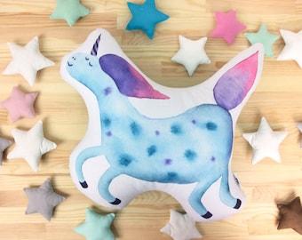 Unicorn pillow Blue