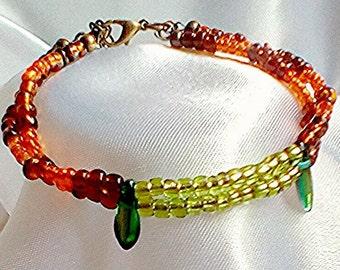 Seed bead bracelet, multi strand bracelet, Boho bracelet 2 strand bracelet dagger bead bracelet festival jewellery beach jewellery colourful