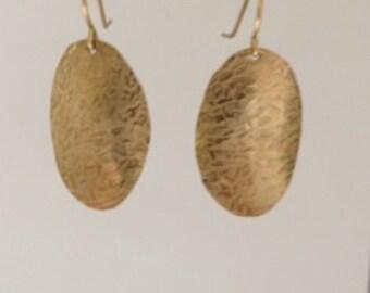 Handmade NuGold Patterned Brass Earrings