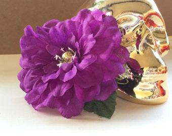 Purple Zinnia Flower Hair Clip, Purple and Gold Hair Clip, Zinnia, Hair Flower Clip