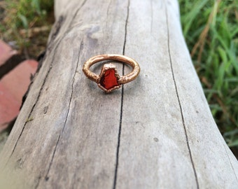 Electroformed Red Seaglass Ring