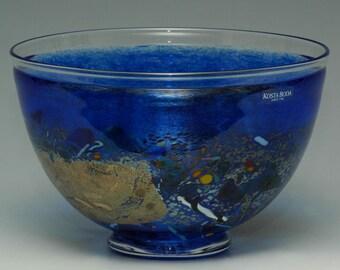 "Hand Made Kosta Boda Blue Bowl ""Satellite"""