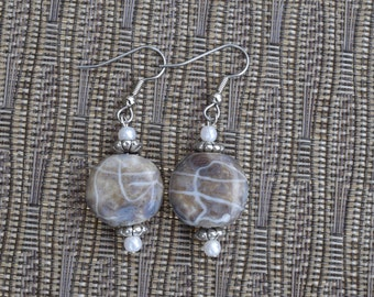 Plum and Pearl Earrings