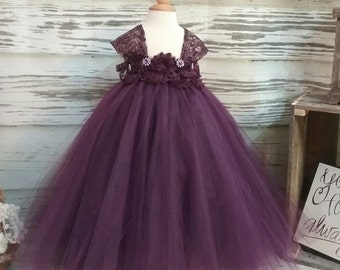 Free Shipping  to USA Custom Made Cap Sleeve Eggplant Tutu Dress-Egggplant Flower Girls Available in Sizes Newborn  to 14 years old