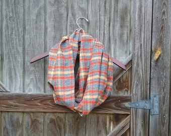 Infinity Scarf- Flannel Plaid Scarf- Circle Scarf- Gift for  Her-Autumn Infinity Scarf- Robert Kaufman Flannel Plaid