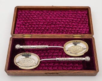 Victorian Oak Cased Serving Spoons, Circa 1890 (ID 48131)