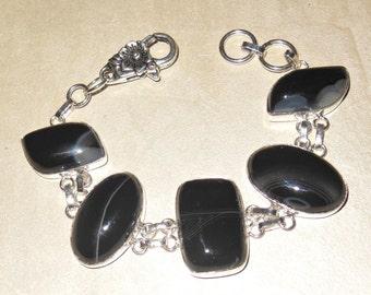 Elegant Bracelet – Black Botswana Agate