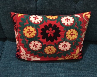 Small 14x10 inch Suzani pillow tree of life--with pillow insert