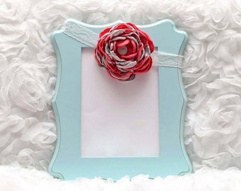 Coral/Silver Satin Flower Headband, Flower Headband, Satin Flower, Hair Accessory, Baby/Girl Flower Headband, Ready to Ship