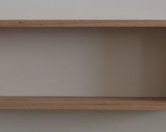 "Solid Red Oak Real Wood Floating Rectangular Box Shelf, 24.5"" x 9.5"" and 5.5"" deep, Contemporary, DVD, CD, or Book Shelf, Handmade"