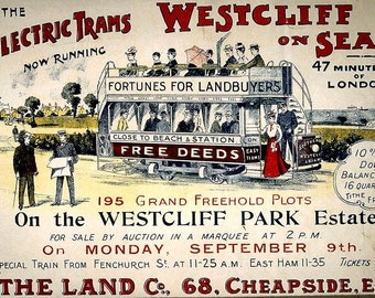 Southend Westcliff on Sea Electric Tram Poster Art Reproduction Print Home Decor Posters