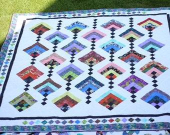 Hand Stitched Quilt - Oriental Pattern