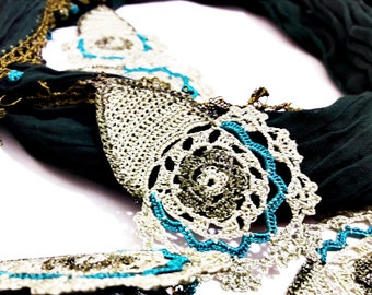 Sahra Scarf - Turkish Oya Lace Crochet Cheesecloth Scarf Necklace